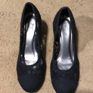 Black lace wedge heels
